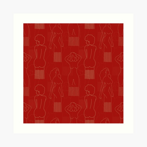 Beige woman-shaped comb on red background Art Print