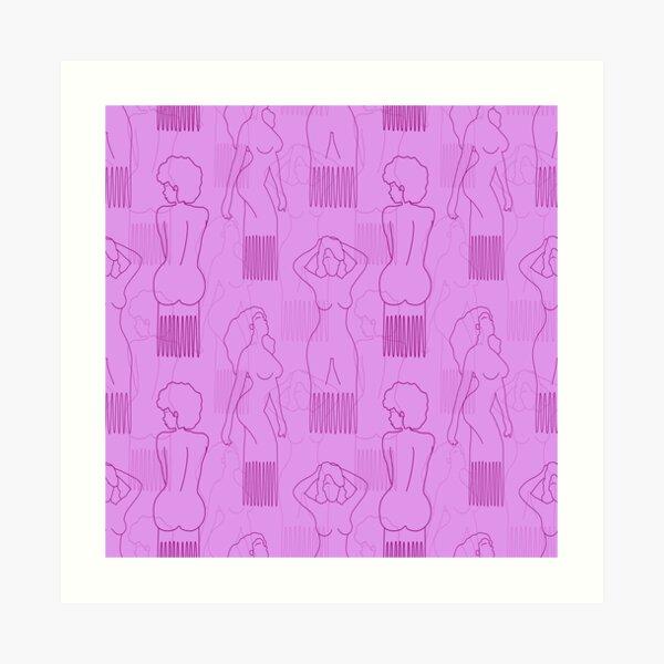 Purple woman-shaped comb on pink background Art Print