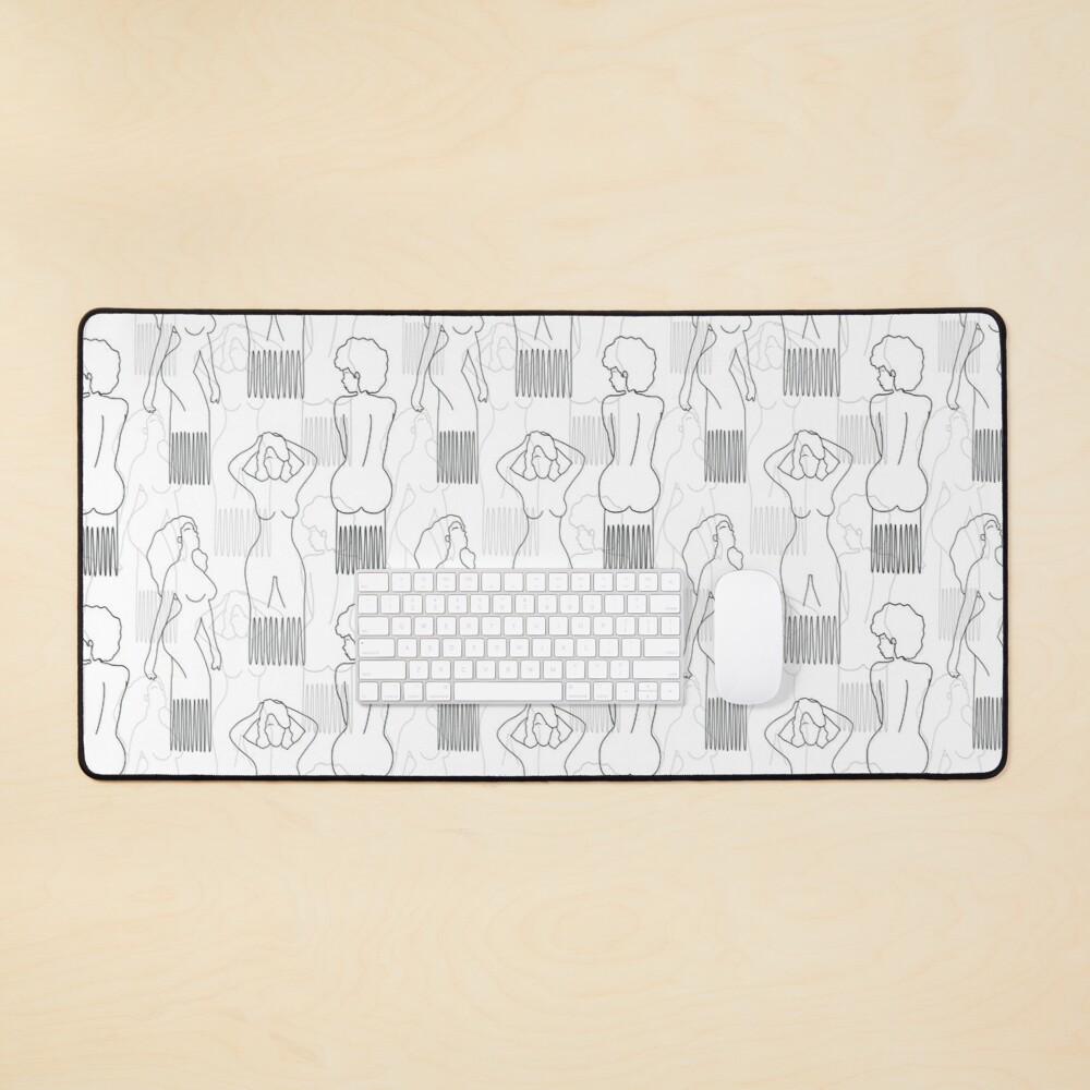 Black woman-shaped comb on white background Mouse Pad