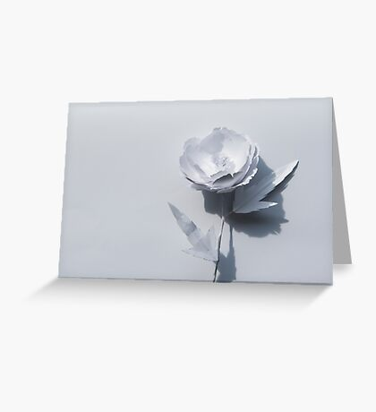 White paper flower on white Greeting Card