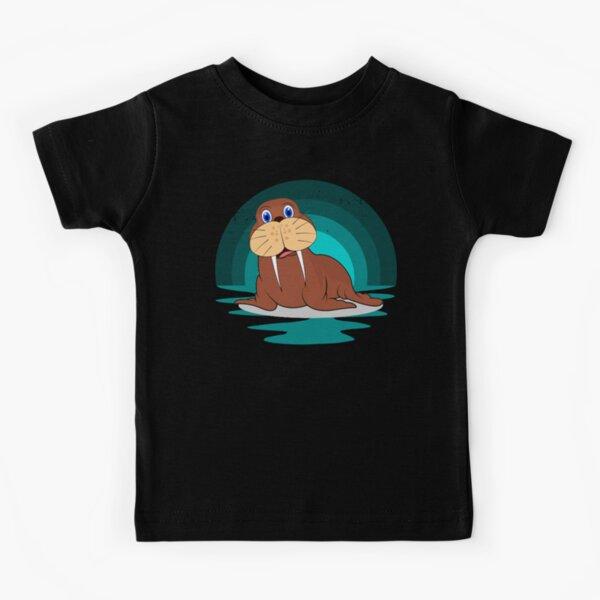 Happy Walrus At Sunrise Kids T-Shirt