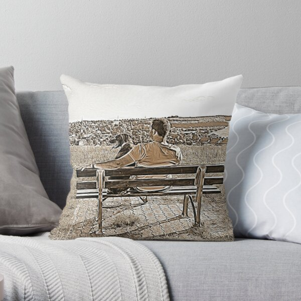 Labrador looks out over the landscape Throw Pillow