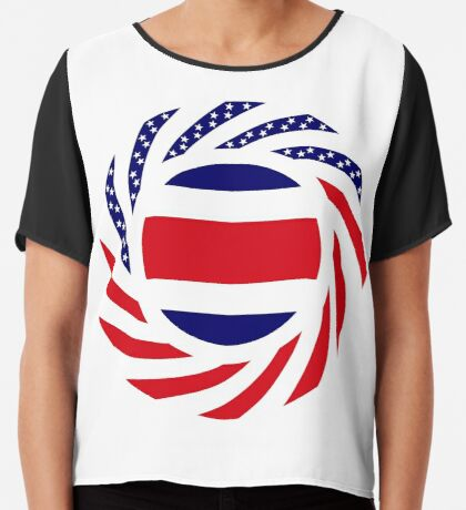 Costa Rican American Multinational Patriot Flag Series Chiffon Top