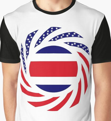 Costa Rican American Multinational Patriot Flag Series Graphic T-Shirt