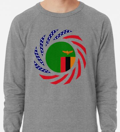 Zambian American Multinational Patriot Flag Series Lightweight Sweatshirt
