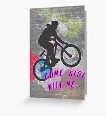 Come ride with me, wall graffiti image of a bicycle stunt  Greeting Card