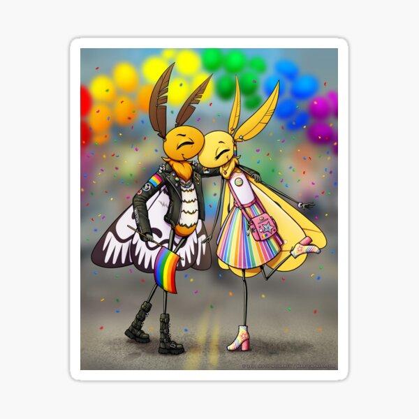 Pair at Pride, Moths 2021 Sticker