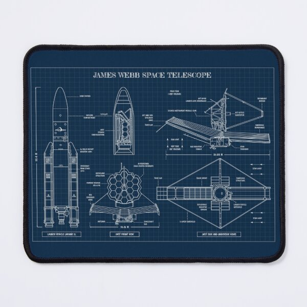 James Webb Space Telescope (Navy Blueprint) Mouse Pad