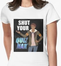 Shut your Quiznak, voltron inspired print Womens Fitted T-Shirt