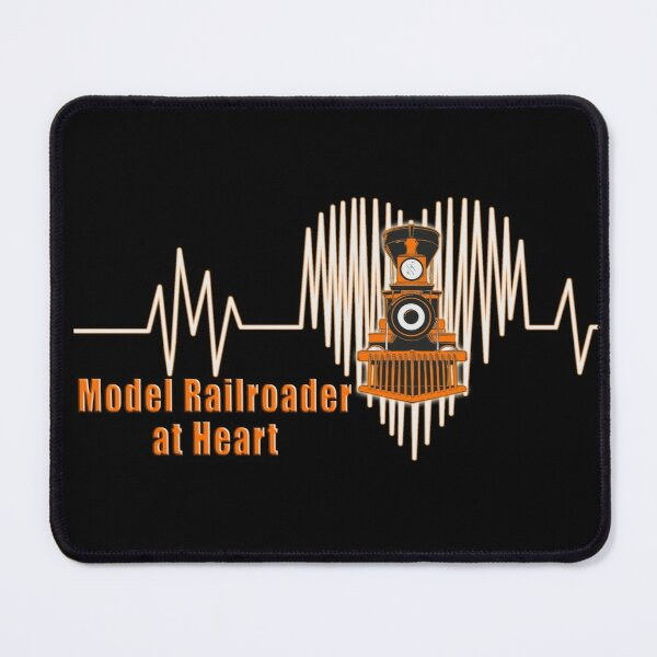 Model Railroader at Heart.  Model Railroading Steam Locomotive Heartbeat ECG Design with Orange Text. Mouse Pad