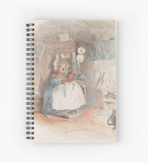 A cute Field Mouse spinning yarn by Beatrix Potter Spiral Notebook