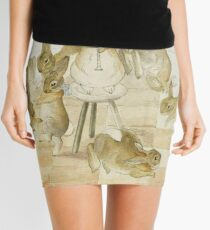 A series of Rabbits at a party by Beatrix Potter Mini Skirt