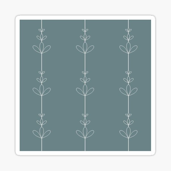 White three leaves flowers silhouette different size with line between on deep-blue background seamless vintage pattern wallpaper Sticker