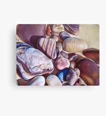 """Pallette of stones - Hallett Cove beach SA"" - detail  Canvas Print"