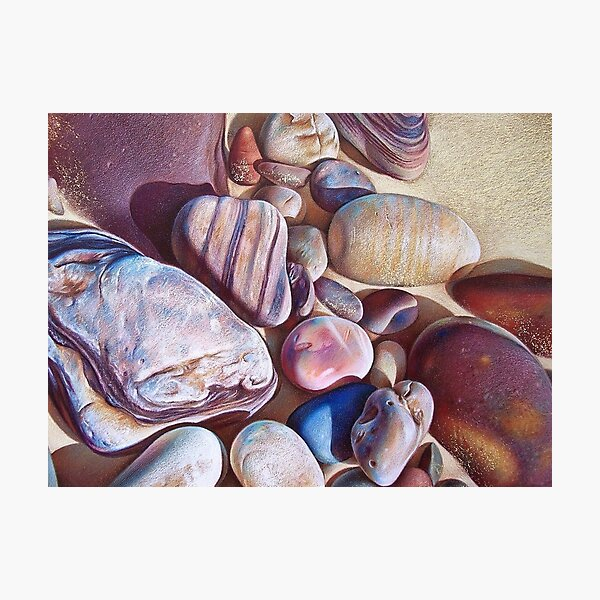 """Pallette of stones - Hallett Cove beach SA"" - detail  Photographic Print"