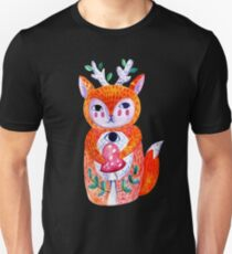 Doll forest fox, hare with fly agaric mushroom. T-Shirt