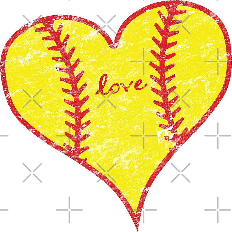 """Love Softball Distressed Heart"" Stickers By TeeCreations"