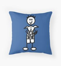 The boy with the spiky hair - mid blue Throw Pillow