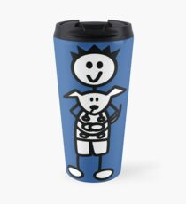 The boy with the spiky hair - mid blue Travel Mug