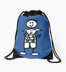 The boy with the spiky hair - mid blue Drawstring Bag