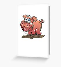 Cute Muddy Pink Piglet - Baby Pig Greeting Card