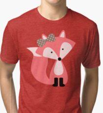 Girly Pink Fox Tri-blend T-Shirt