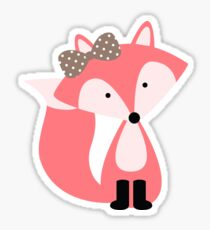 Girly Pink Fox Sticker