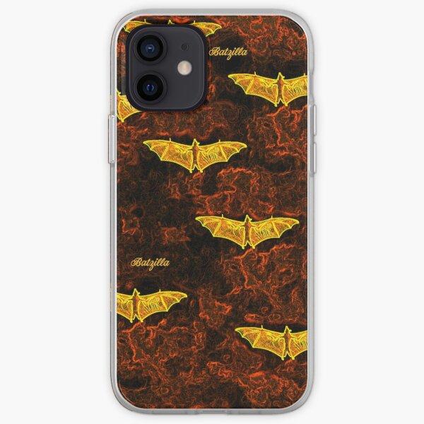 Batzilla - Red Flight Glowing Bats on Fiery Clouds  iPhone Soft Case