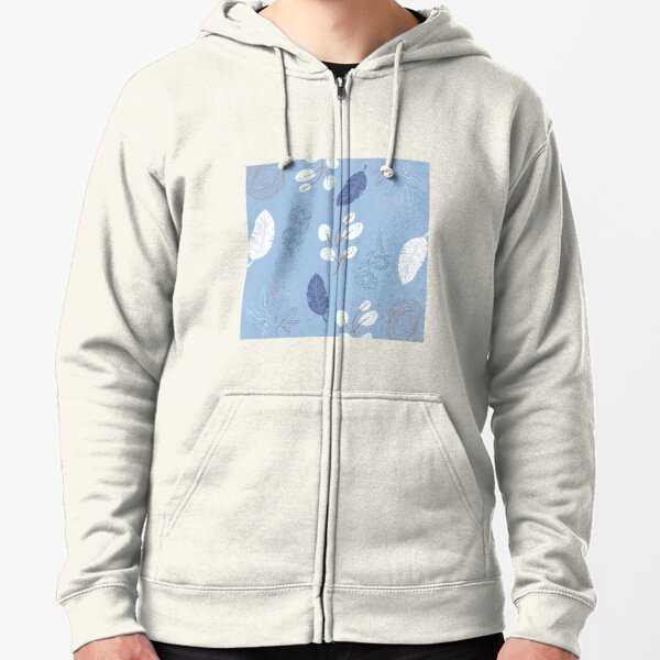 Blue floral pattern with leaves and feathers Zipped Hoodie
