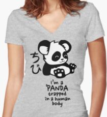 I'm a cute little panda Women's Fitted V-Neck T-Shirt