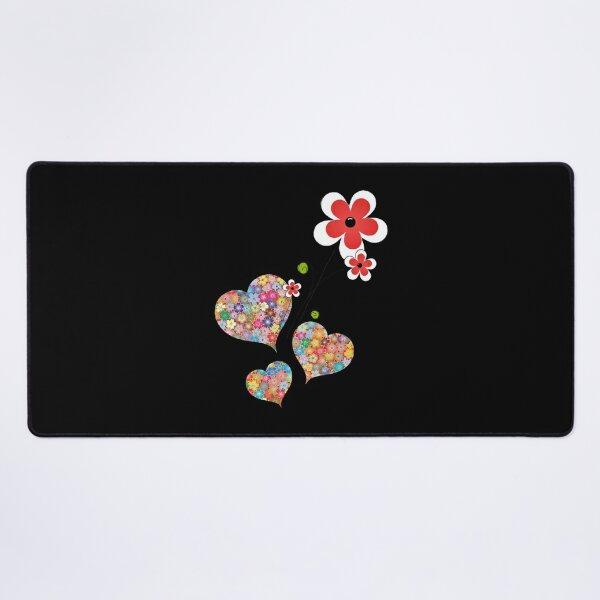 Flowers flora heart design  Desk Mat