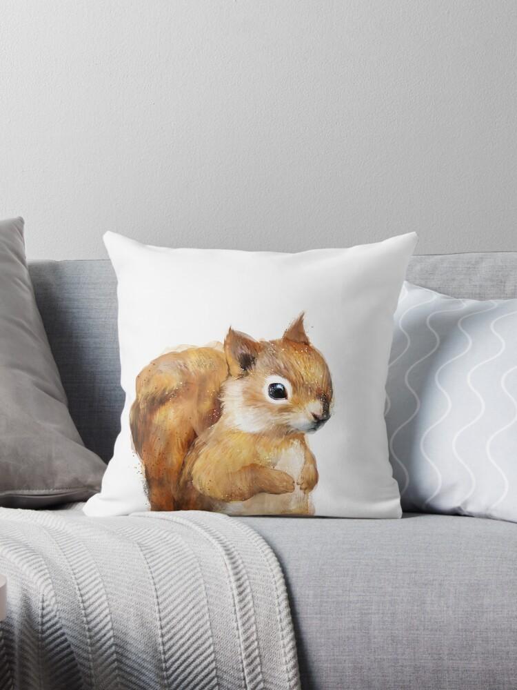 Little Squirrel Throw Pillow By Amyhamilton Redbubble