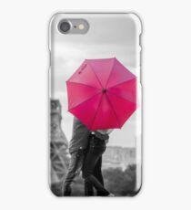 red umbrella in rainy paris iPhone Case/Skin