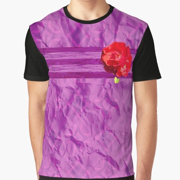 Purple and Red Rose Multimedia Graphic T-Shirt