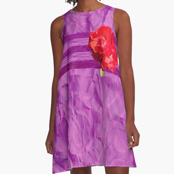 Purple and Red Rose Multimedia A-Line Dress