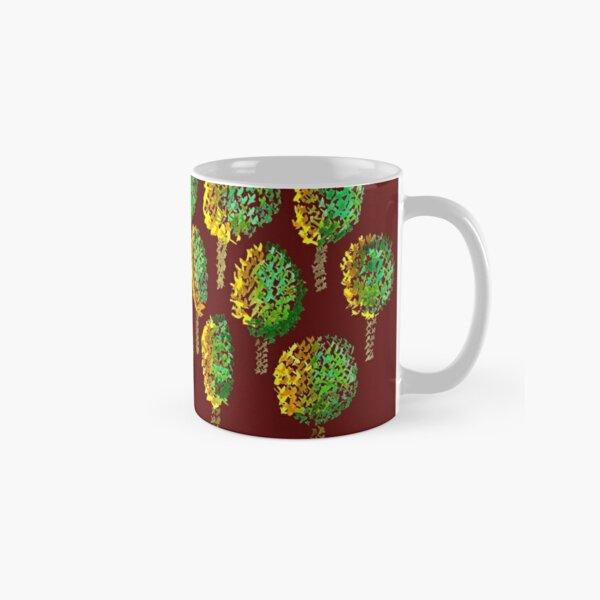 Cross Stitch Trees - marsala background Classic Mug