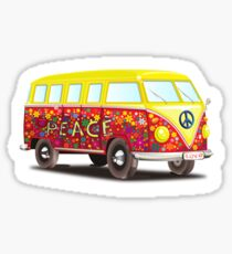 VW, Peace and Love, Van, Hippy, Hippies, Flower Power, Love in, 70s Sticker