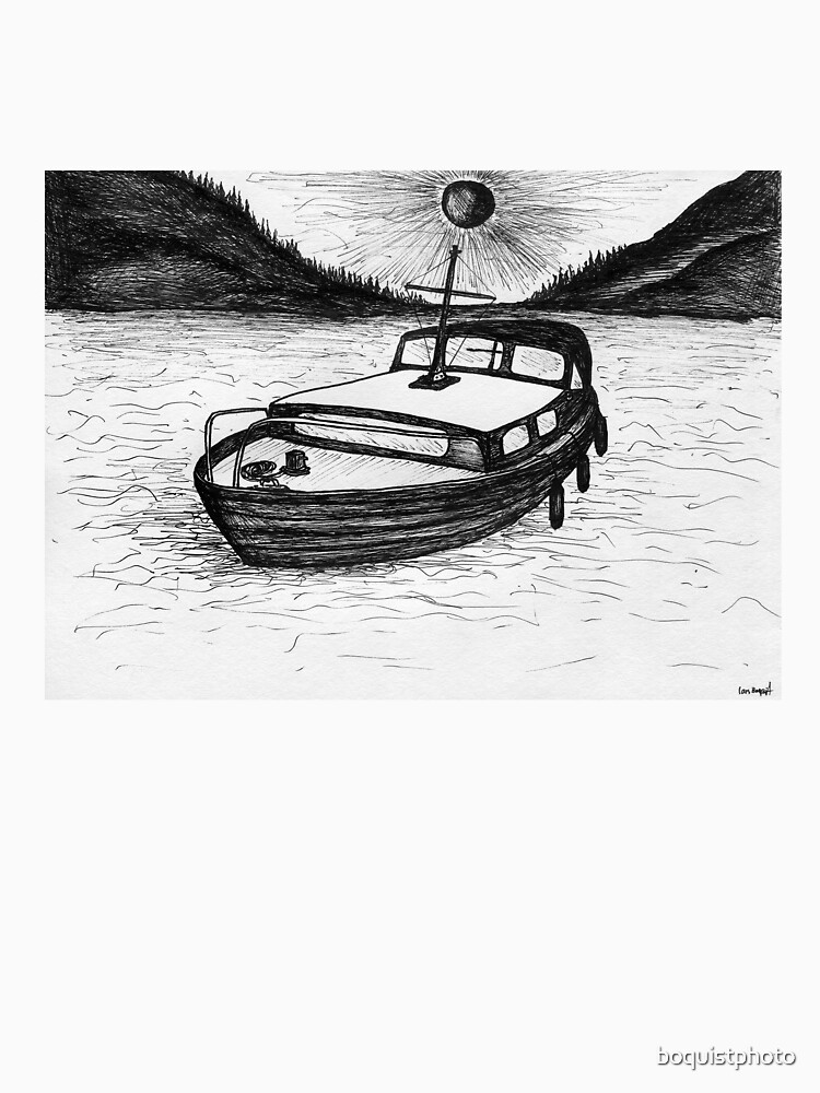 Wooden Boat Drawing With Fjords And Sun By Boquistphoto