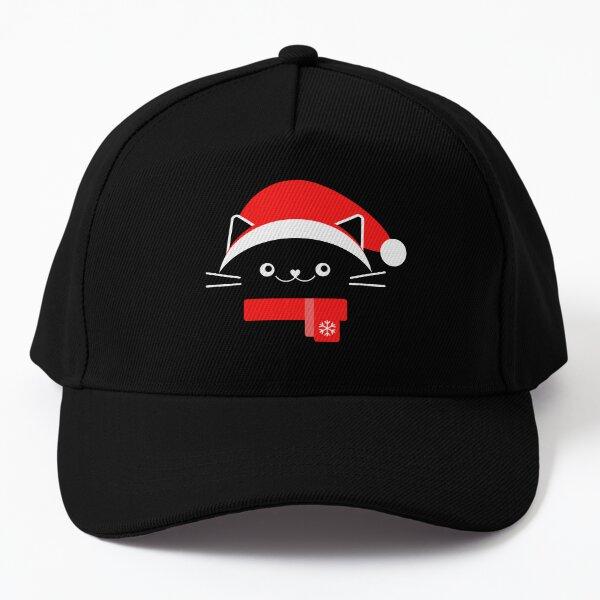 Cat with Christmas Hat - Merry Christmas - Santas Hat - Cat Lover Baseball Cap