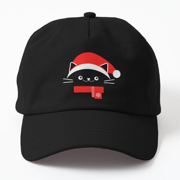Cat with Christmas Hat - Merry Christmas - Santas Hat - Cat Lover Dad Hat