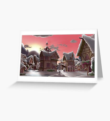 Ponyville, Dawn, Snowy Greeting Card