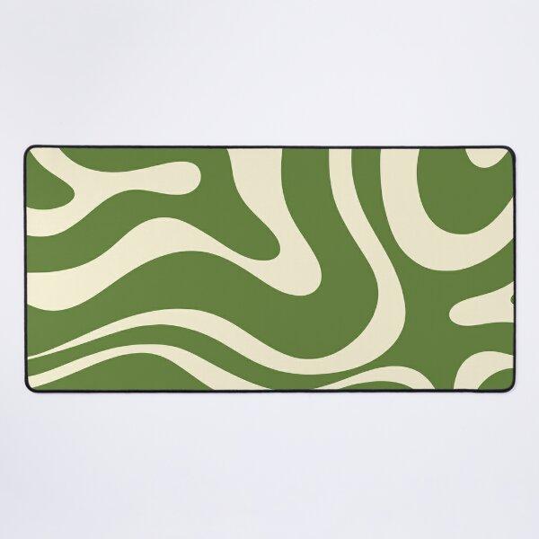 Modern Liquid Swirl Abstract Pattern Square in Retro Christmas Green and Cream Desk Mat