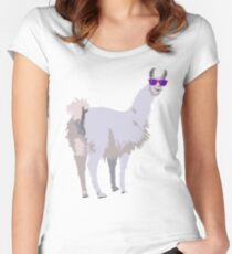 Cool Llama In Sunglasses Women's Fitted Scoop T-Shirt