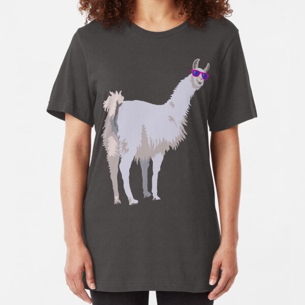 Cool Llama In Sunglasses Slim Fit T-Shirt