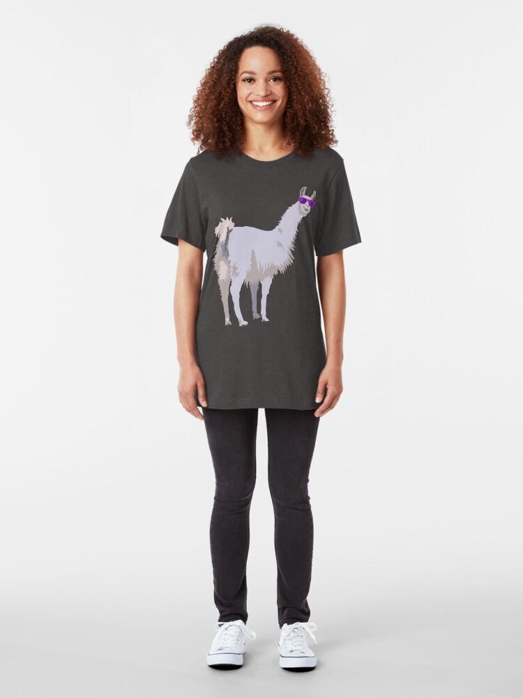 Alternate view of Cool Llama In Sunglasses Slim Fit T-Shirt