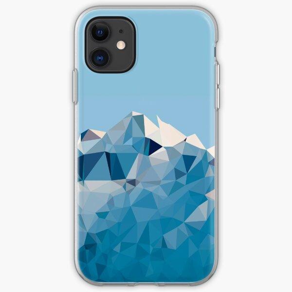 Montaña geométrica baja polivinílica Funda blanda para iPhone