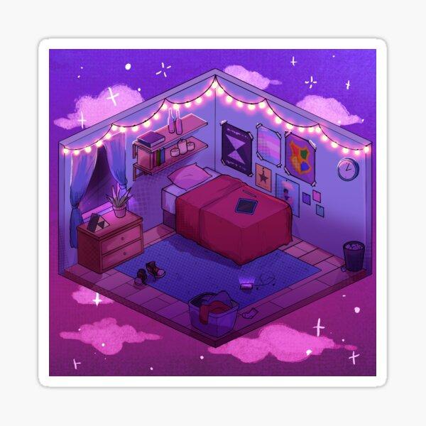 Peaceful Isometric Bedroom Sticker