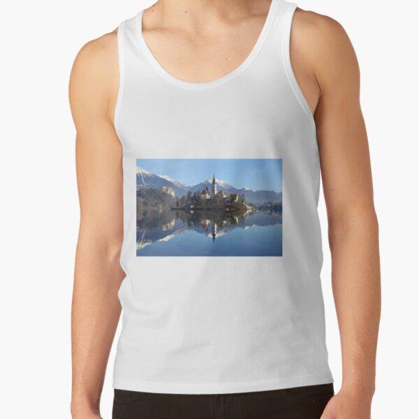 Church on island at Lake Bled Slovenia Tank Top