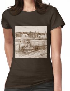 Port Seton Harbour Sepia Womens Fitted T-Shirt