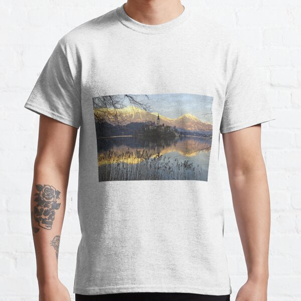 Church on island at Lake Bled Slovenia Classic T-Shirt